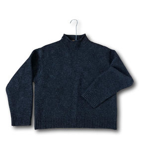 Polo Turtle High Neck Crop Wool Sweater Ribbed Hem